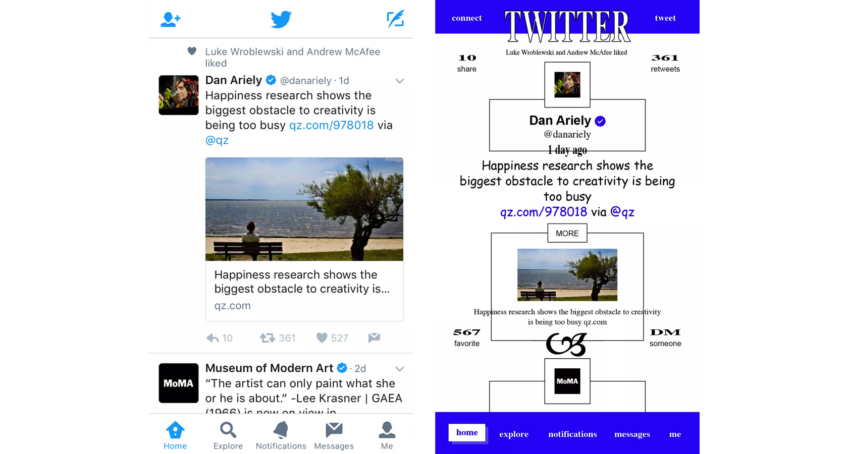 Twitter's clean, light design style, a brutalist makeover.