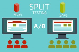 A-B comparison. Split testing. Concept with desktop computer vec