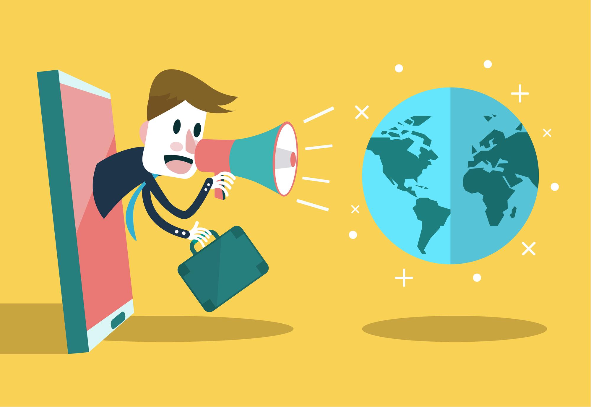 Businessman use loudspeaker talk to the world