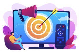 Addressable TV advertising concept vector illustration.