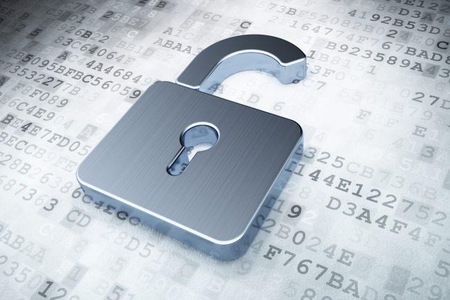 silver opened padlock on digital background